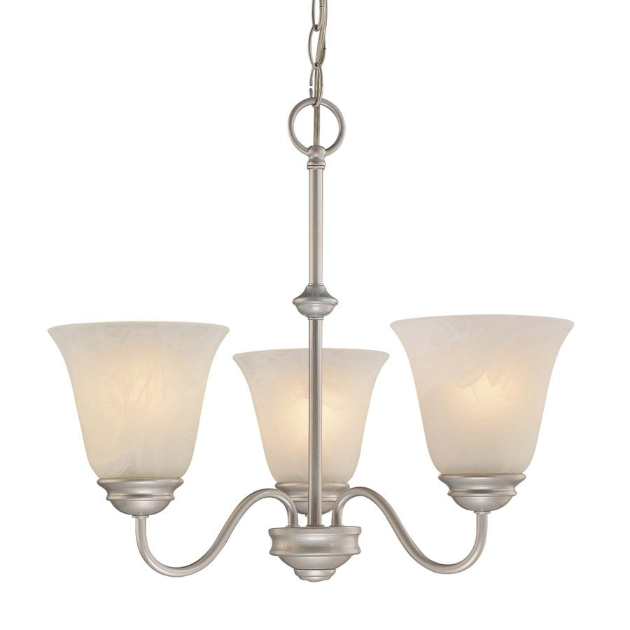 Volume International Hammond 18.75-in 3-Light Nickel Alabaster Glass Shaded Chandelier