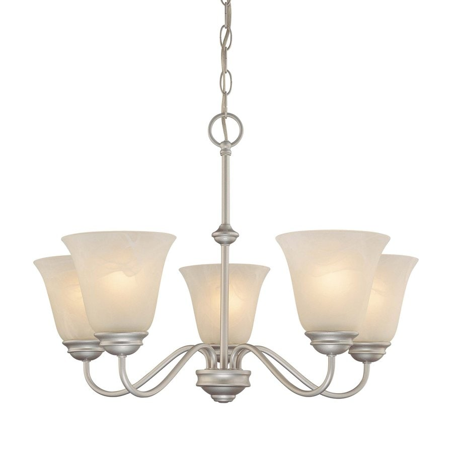 Volume International Hammond 23.5-in 5-Light Nickel Alabaster Glass Shaded Chandelier