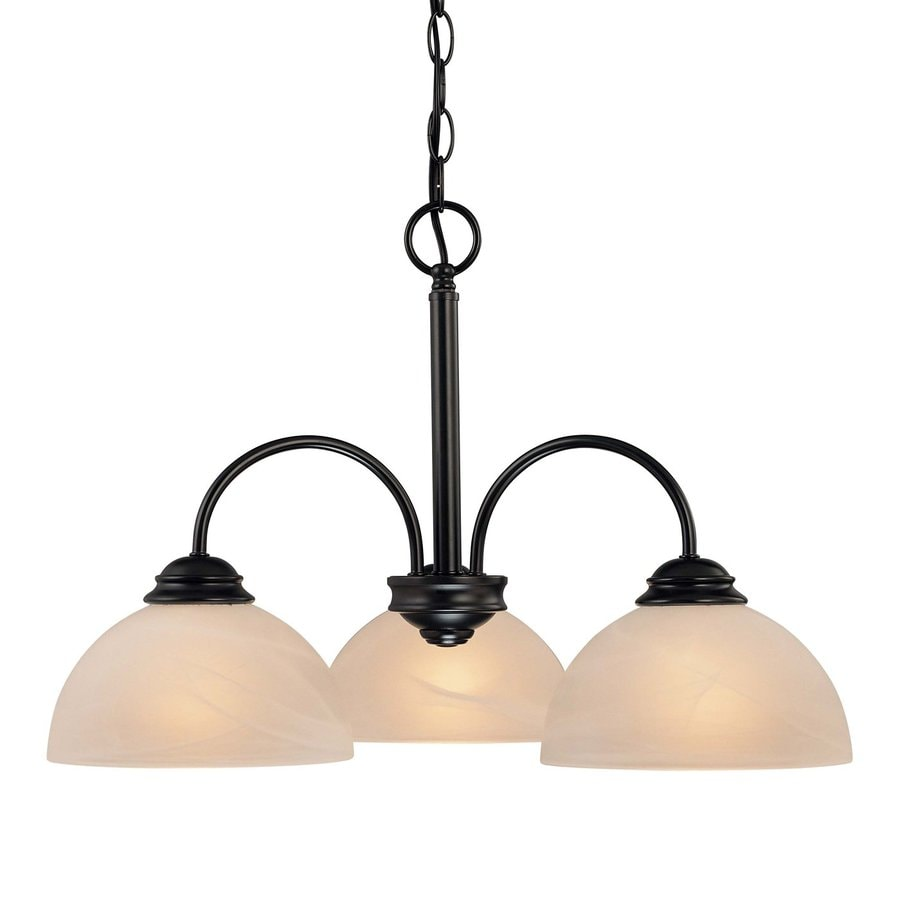 Volume International Bernice 21.5-in 3-Light Antique Bronze Alabaster Glass Shaded Chandelier