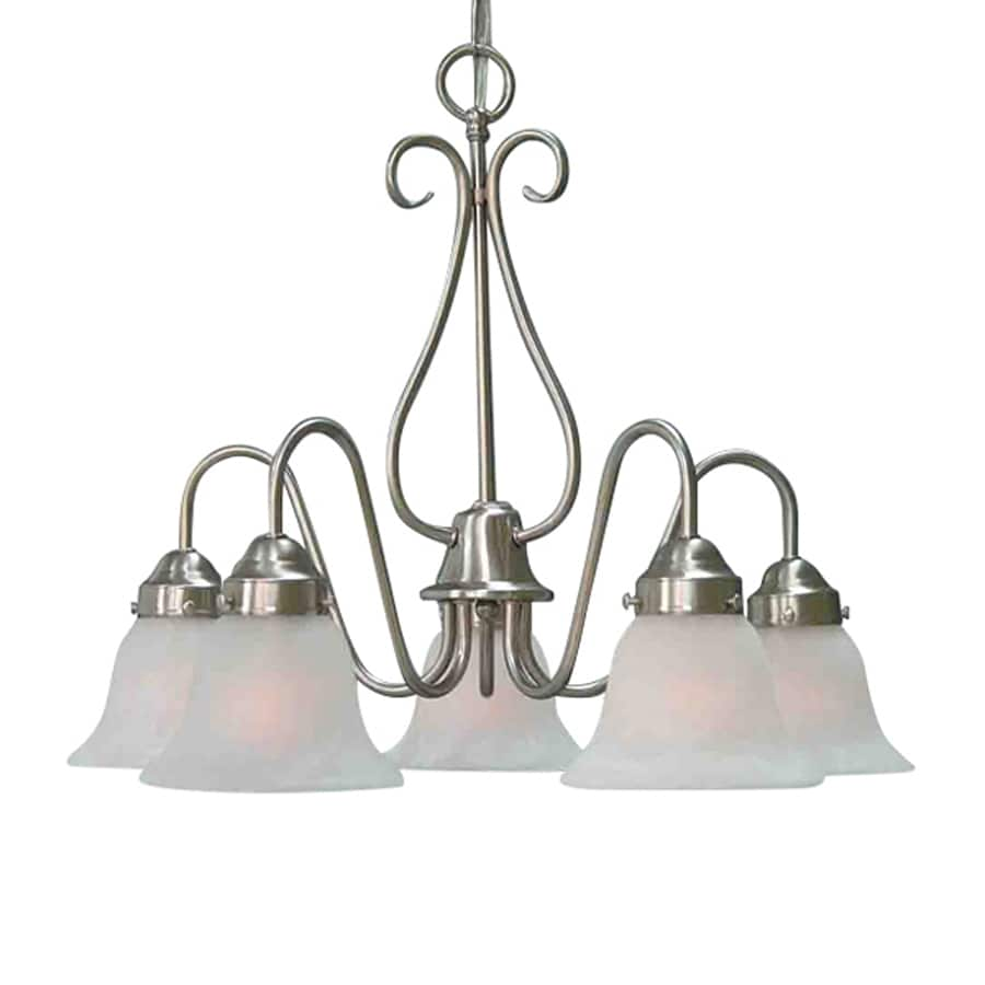 Volume International Minster 23.5-in 5-Light Brushed Nickel Country Cottage Alabaster Glass Shaded Chandelier