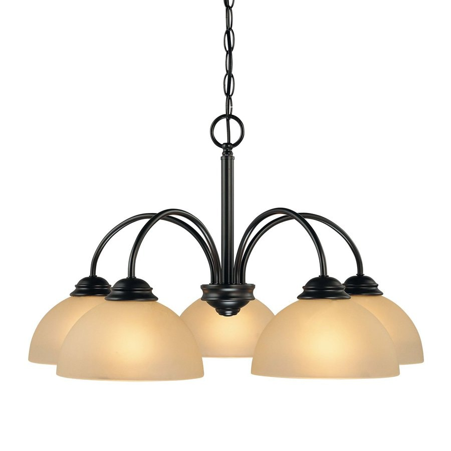 Volume International Bernice 25.5-in 5-Light Antique Bronze Tinted Glass Shaded Chandelier