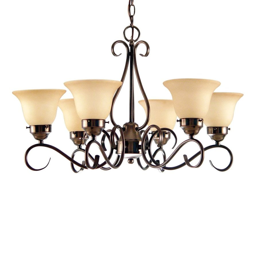 Volume International Minster 28-in 6-Light Antique Bronze Mediterranean Tinted Glass Shaded Chandelier