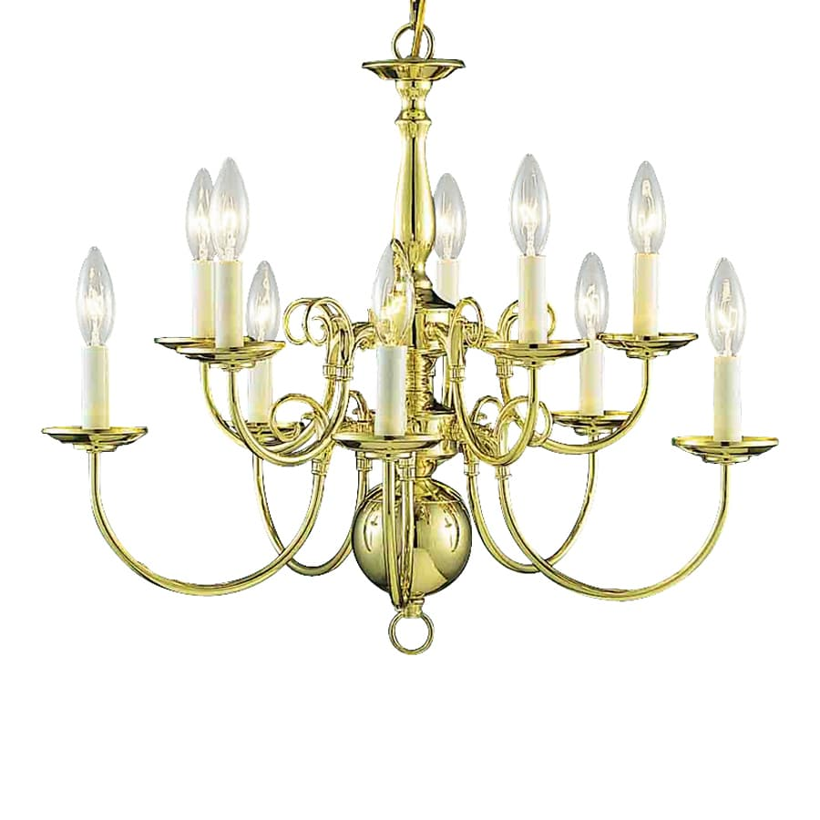 Volume International 23.5-in 10-Light Polished Brass Williamsburg Candle Chandelier