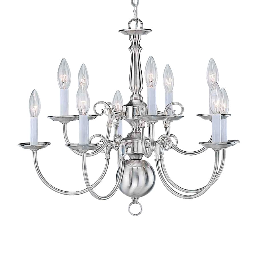 Volume International 23.5-in 10-Light Brushed Nickel Williamsburg Candle Chandelier