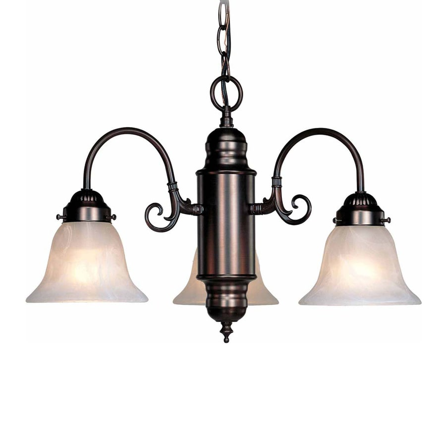 Volume International Marti 23-in 3-Light Antique bronze Vintage Alabaster Glass Shaded Chandelier
