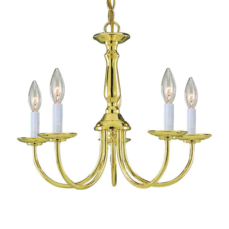 Volume International 18-in 5-Light Polished Brass Williamsburg Candle Chandelier