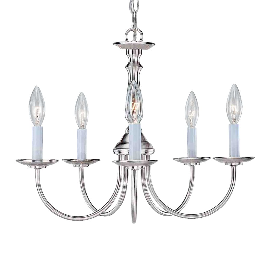 Volume International 18-in 5-Light Brushed Nickel Williamsburg Candle Chandelier