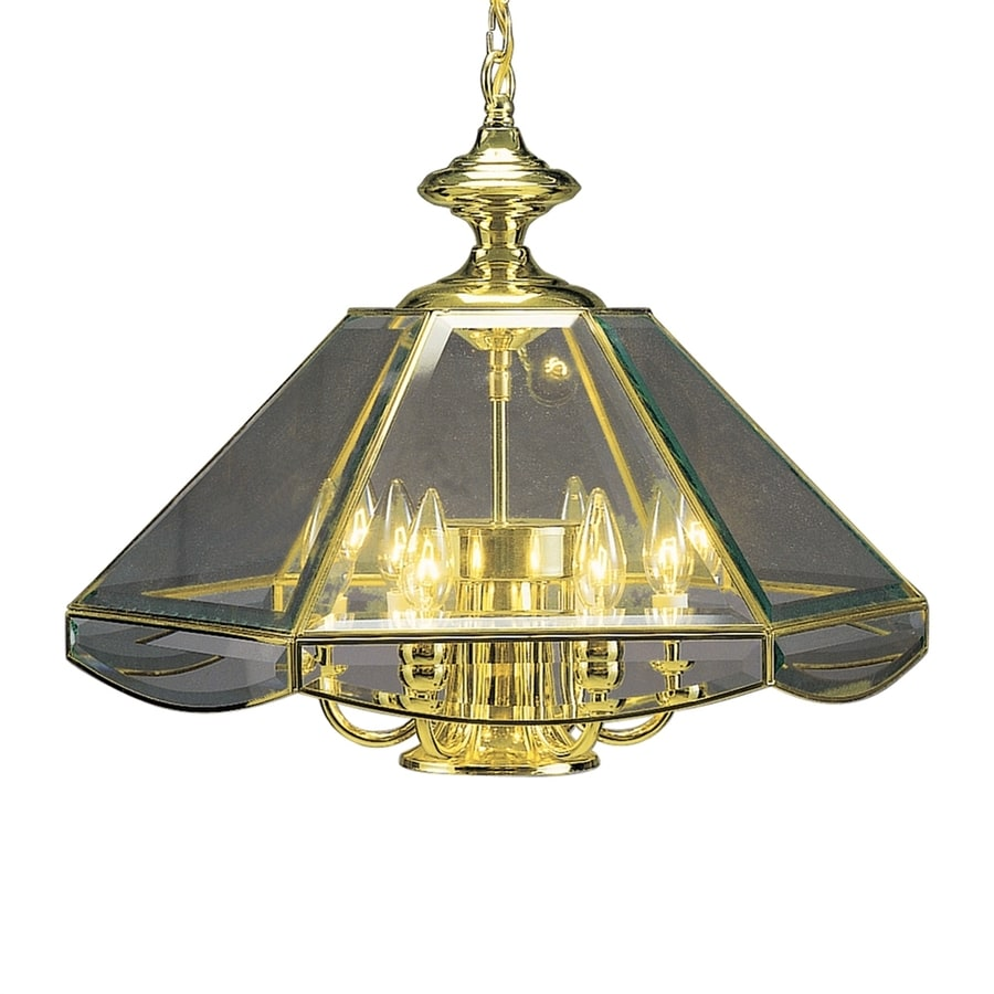 Volume International 18-in 6-Light Polished Brass Clear Glass Candle Chandelier
