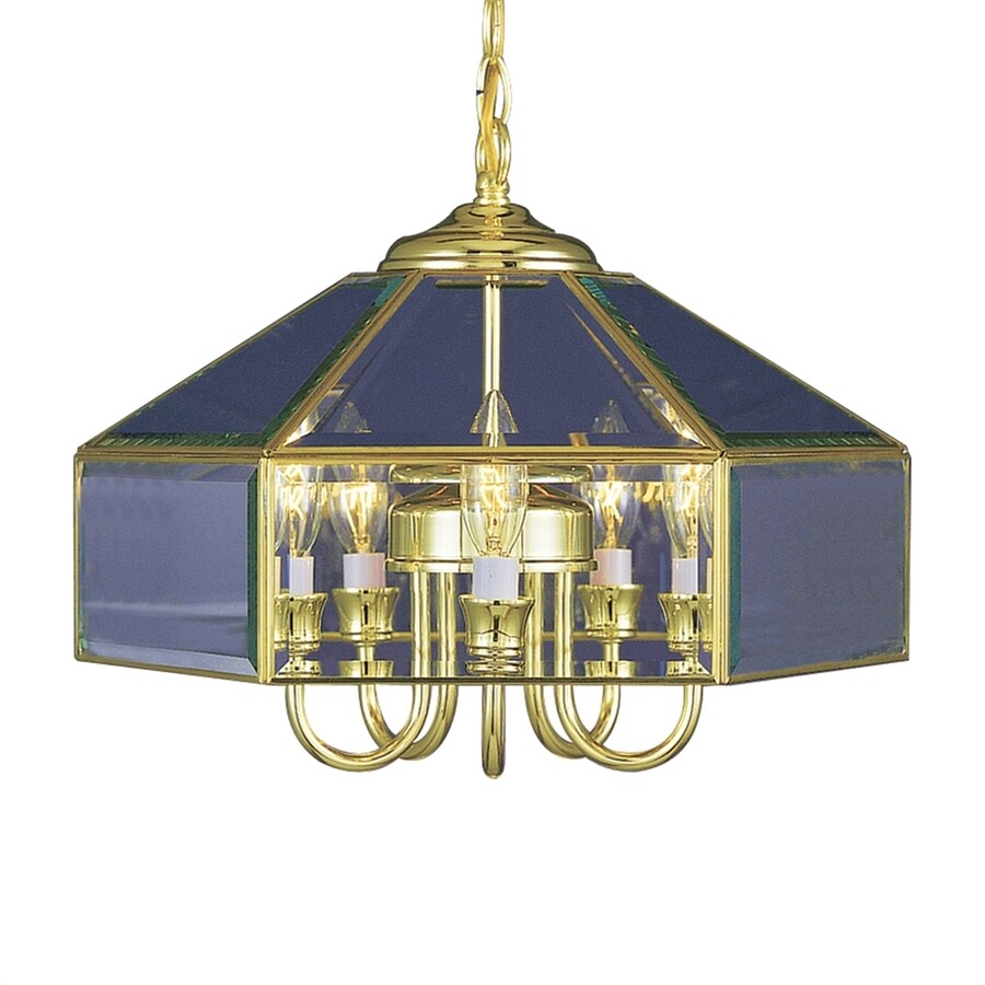 Volume International 16.25-in 5-Light Polished Brass Clear Glass Candle Chandelier