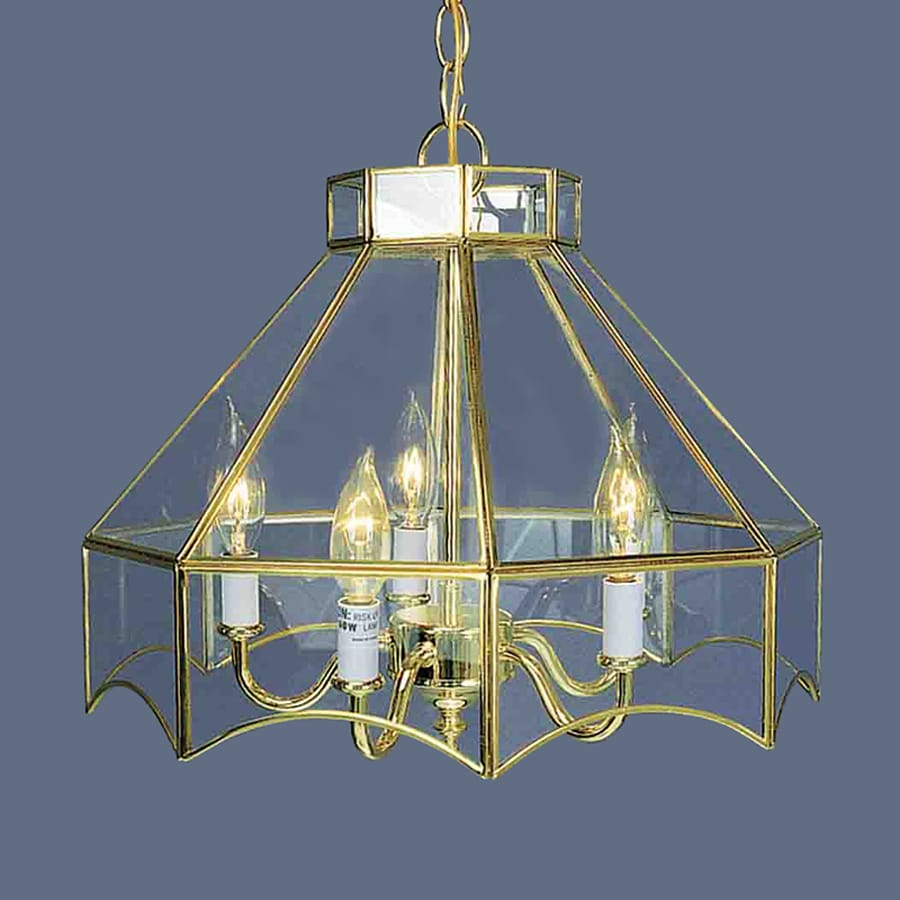 Volume International 16-in 5-Light Polished Brass Vintage Clear Glass Candle Chandelier