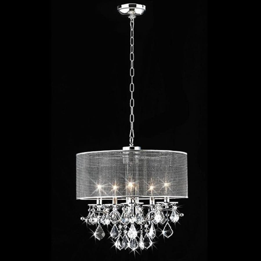 Warehouse of Tiffany 18-in 5-Light Chrome Drum Chandelier