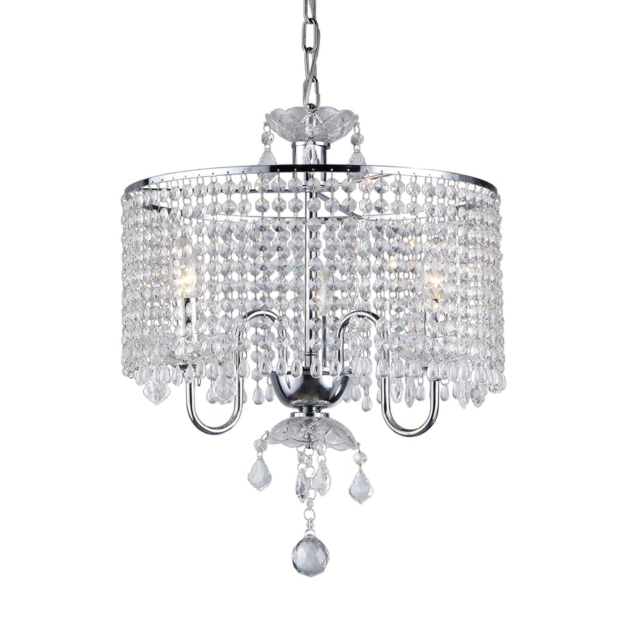Warehouse of Tiffany 17-in 3-Light Chrome Crystal Crystal Drum Chandelier