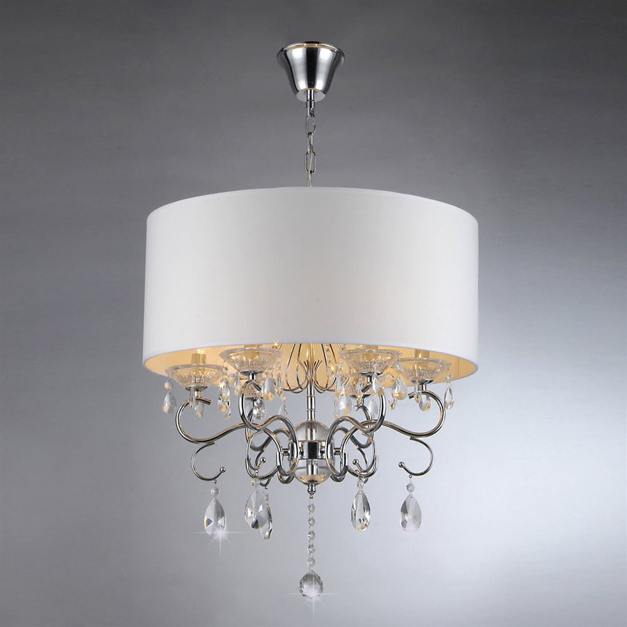 Warehouse of Tiffany 22-in 6-Light Silver Vintage Shaded Chandelier