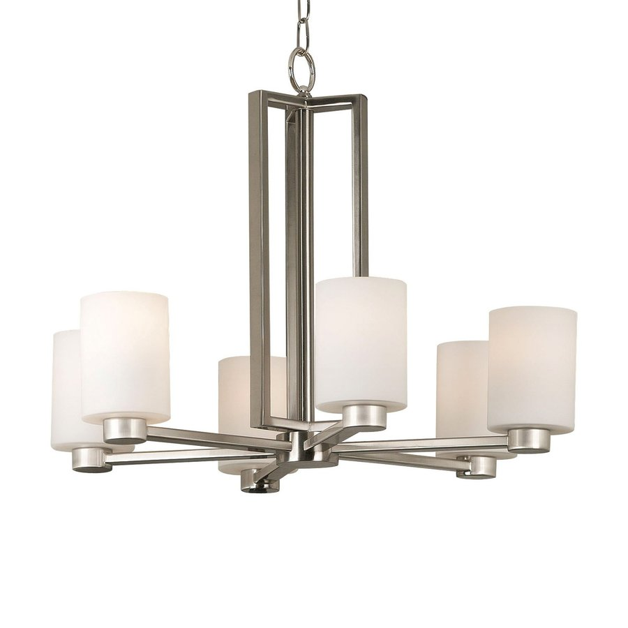 Kenroy Home Encounters 26-in 6-Light Brushed Steel Shaded Chandelier