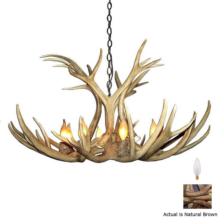 Canadian Antler Design Mule Deer 29-in 6-Light Natural Brown Rustic Abstract Chandelier