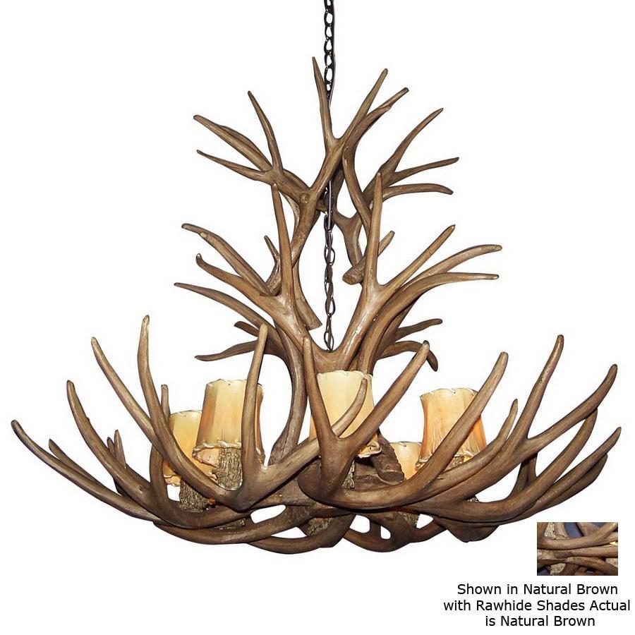 Canadian Antler Design Mule Deer 40-in 8-Light Natural Brown Rustic Abstract Chandelier