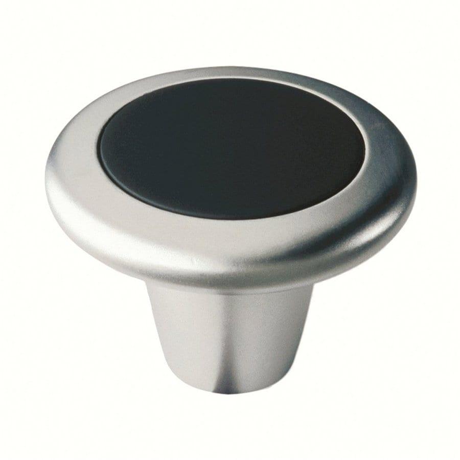 Siro Designs Lenox Matte Chrome/Soft Black Round Cabinet Knob