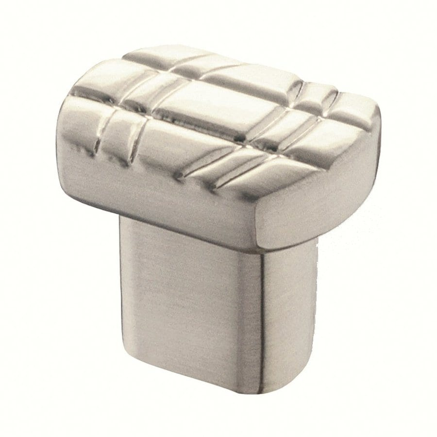 Siro Designs Dots and Stripes Fine Brushed Nickel Rectangular Cabinet Knob