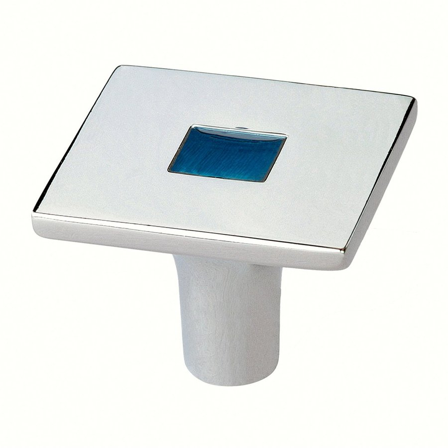 Siro Designs Rio Bright Chrome/Blue Square Cabinet Knob