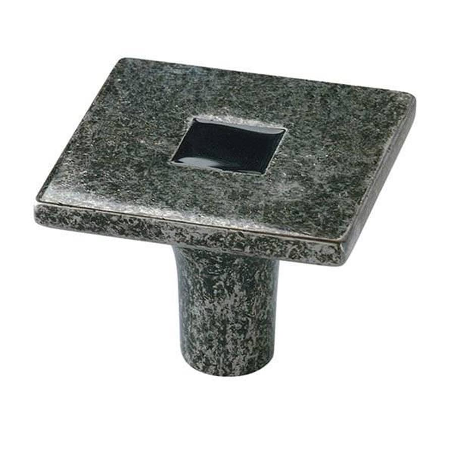 Siro Designs Rio Antique Iron/Black Square Cabinet Knob