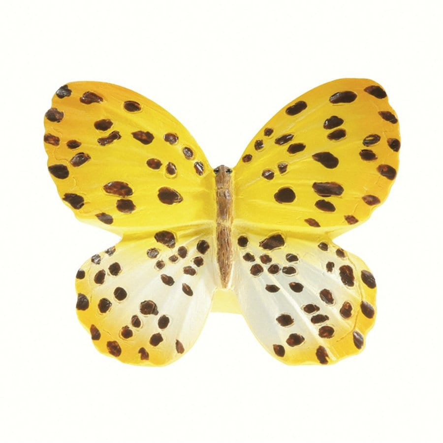 Siro Designs Butterflies Yellow with Brown Dots and Stripes Novelty Cabinet Knob