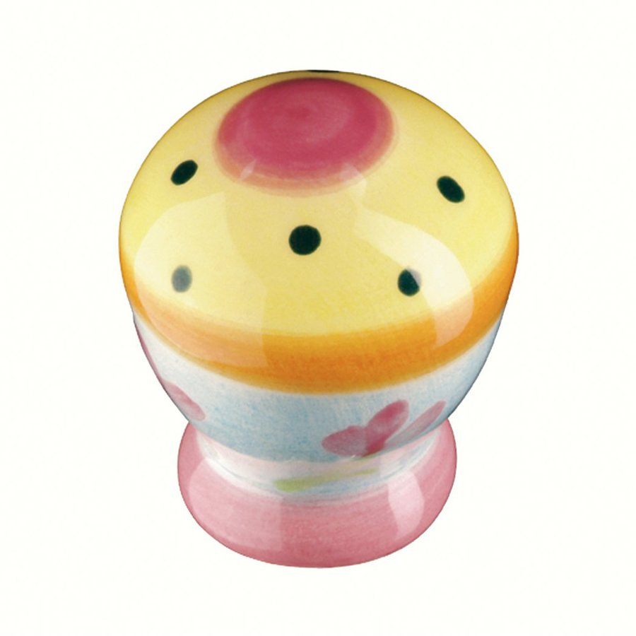 Siro Designs Botanico Pink Ctr/Yellow/Dots and Stripes Novelty Cabinet Knob