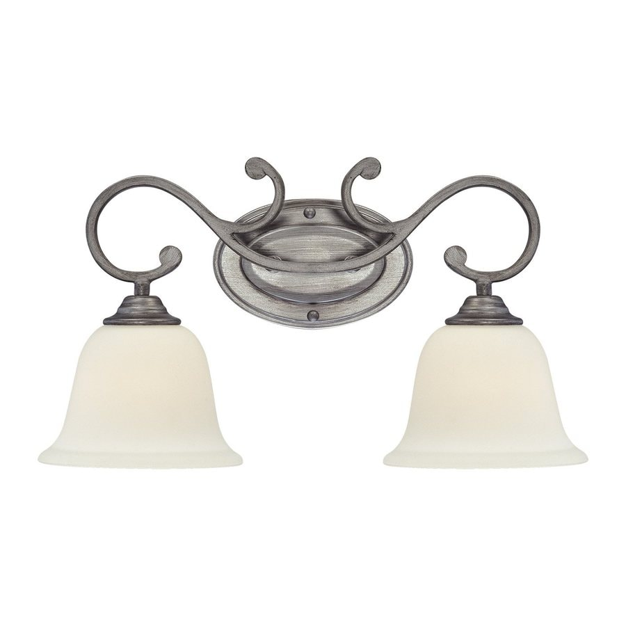 Millennium Lighting 2-Light 10-in Rubbed Silver Bell Vanity Light