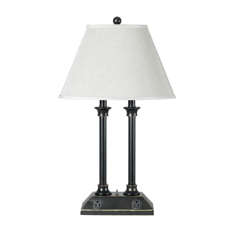 Cal Lighting 27-in Antique Bronze Indoor Table Lamp with Fabric Shade
