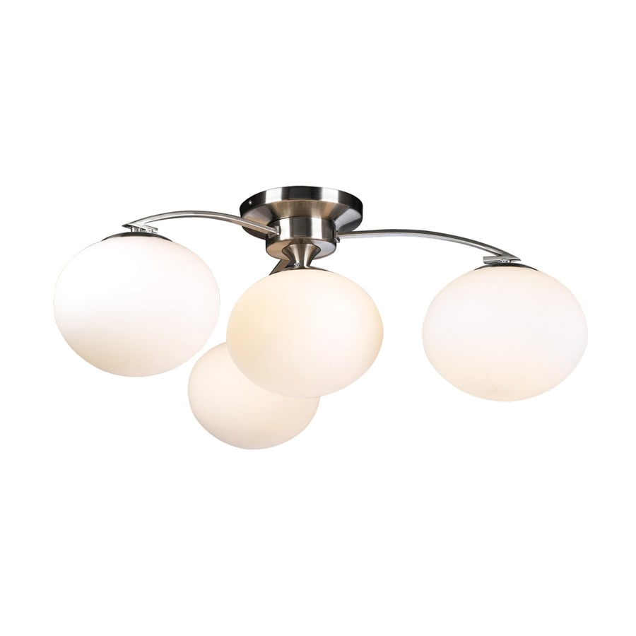 PLC Lighting Aosta 29-in W Satin Nickel Opalescent Glass Semi-Flush Mount Light