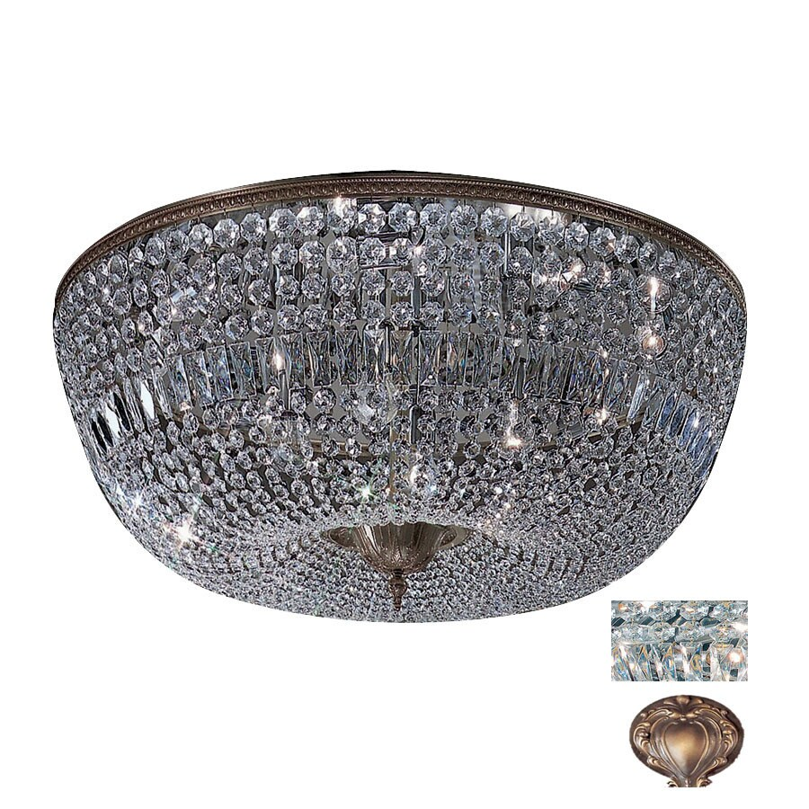Classic Lighting 36-in Roman Bronze Crystal Ceiling Flush Mount