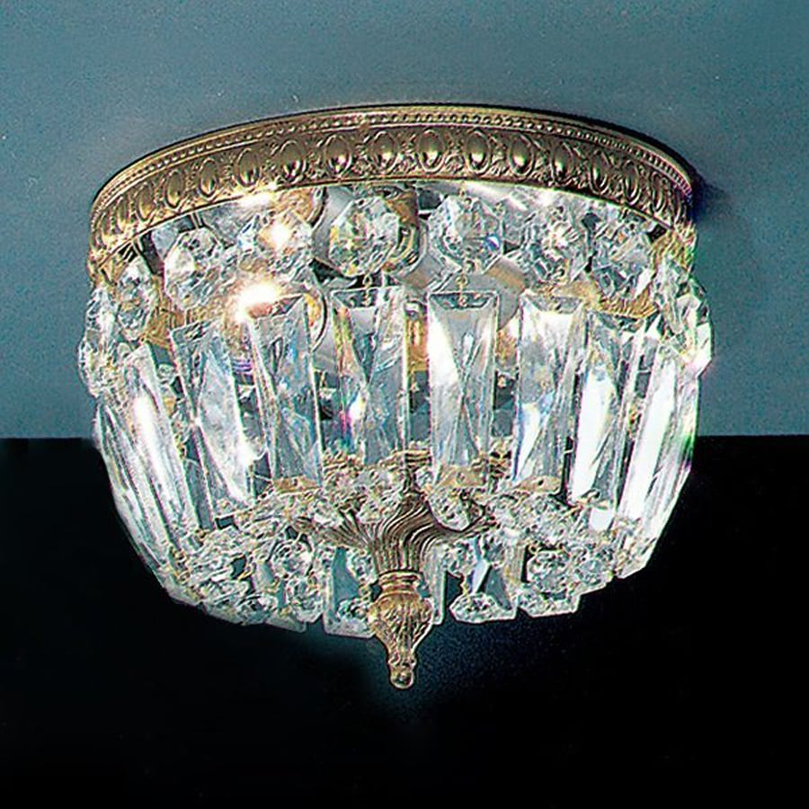 Classic Lighting Crystal Baskets 8-in W Olde World Bronze Crystal Ceiling Flush Mount Light