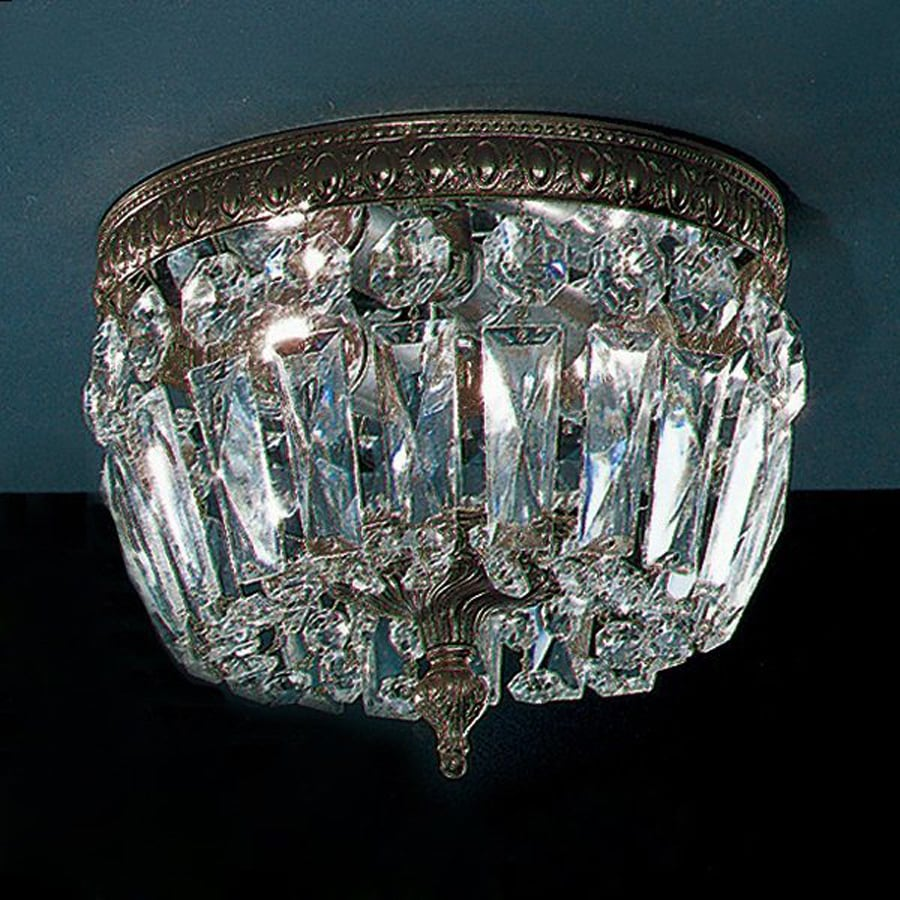 Classic Lighting Crystal Baskets 8-in W Roman Bronze Crystal Ceiling Flush Mount Light
