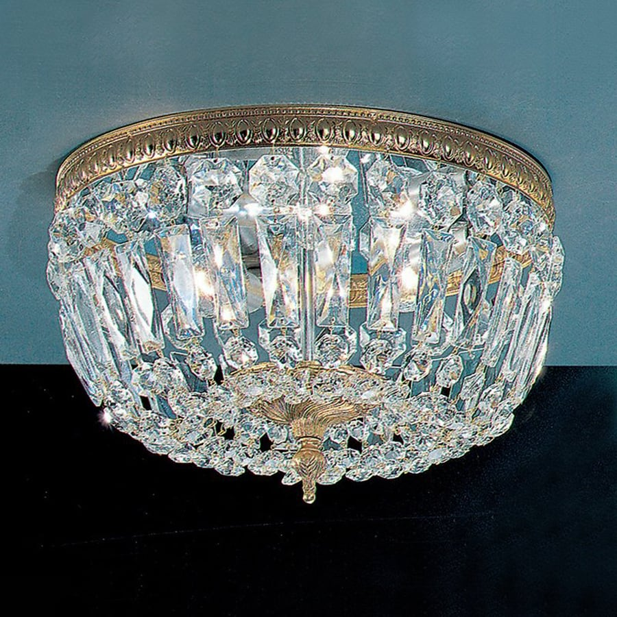Classic Lighting Crystal Baskets 12-in W Olde World Bronze Crystal Flush Mount Light