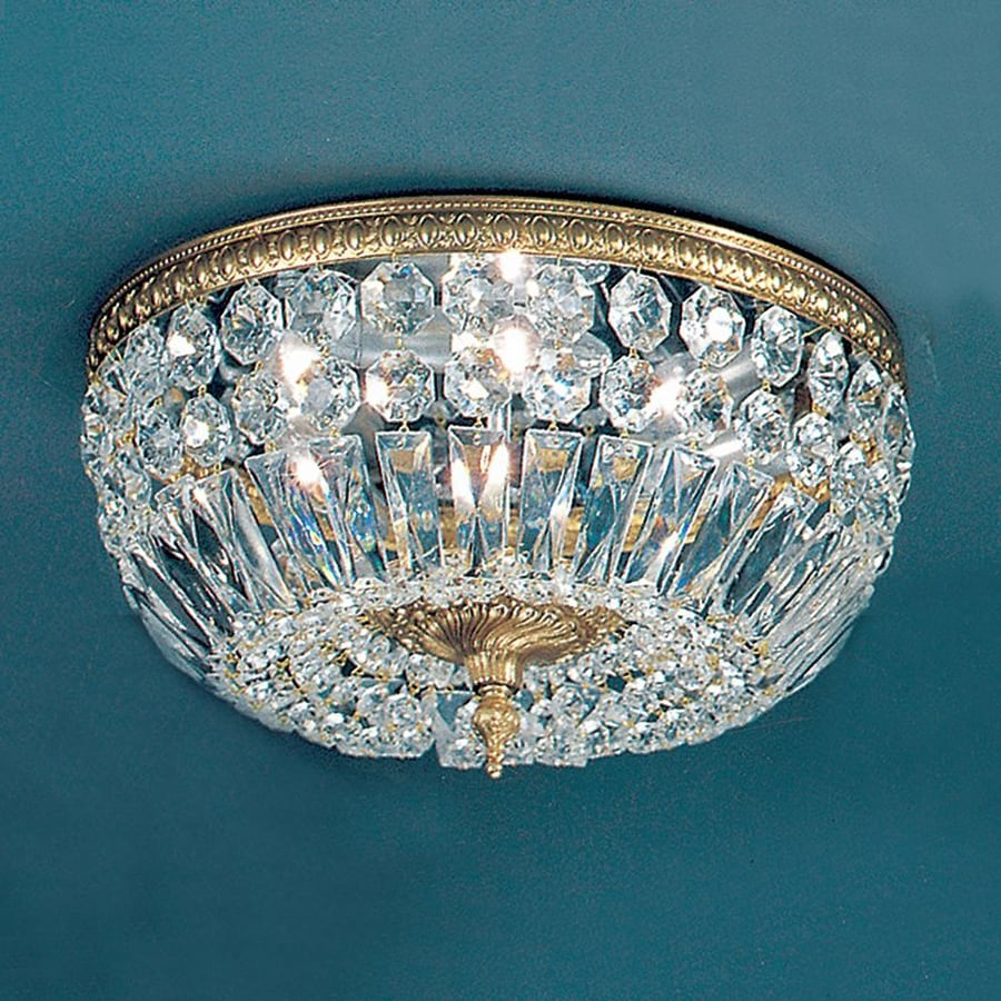 Classic Lighting Crystal Baskets 14-in W Olde world bronze Crystal Flush Mount Light