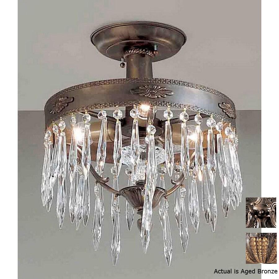 Classic Lighting 14-in Aged Bronze Semi-Flush Mount Light