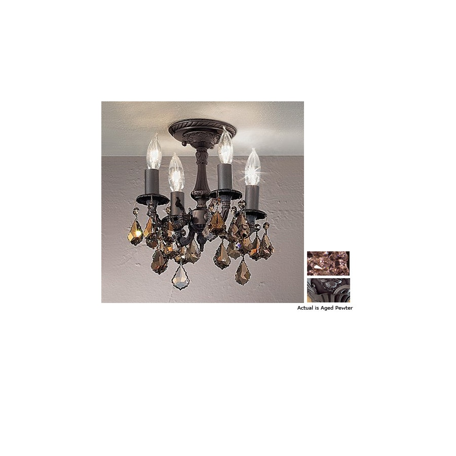 Classic Lighting 10-in W Aged Pewter Crystal Accent Semi-Flush Mount Light