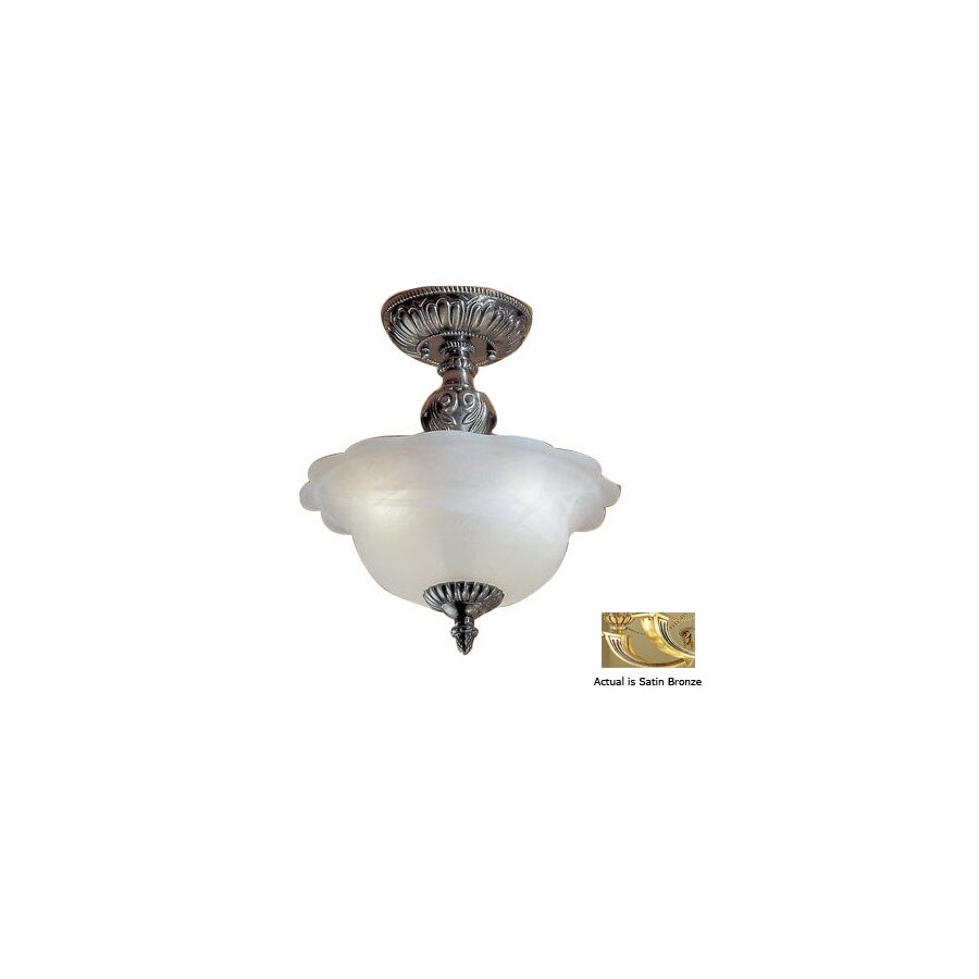 Classic Lighting 13-in Satin Bronze with Brown Patina Alabaster Glass Semi-Flush Mount Light