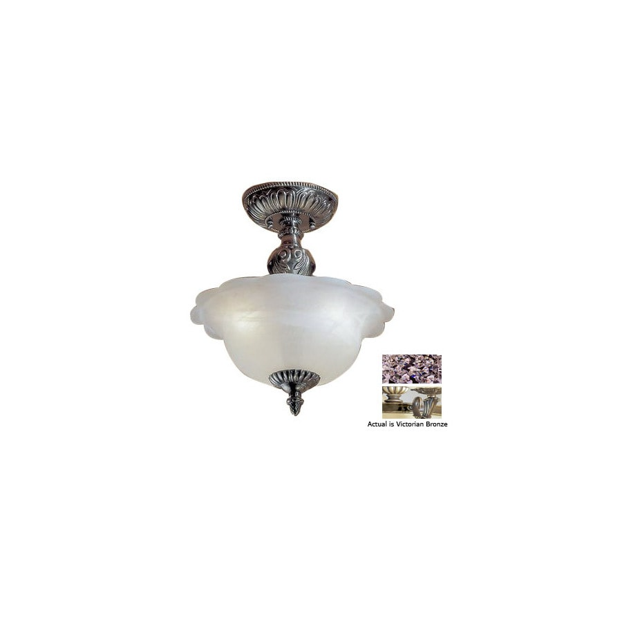 Classic Lighting 13-in W Victorian Bronze Alabaster Glass Crystal Accent Semi-Flush Mount Light