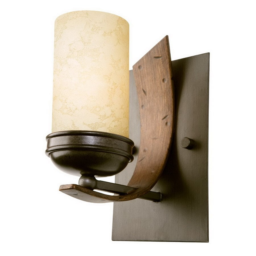 Varaluz Aizen 5.5-in W 1-Light Aspen Bronze Arm Hardwired Wall Sconce