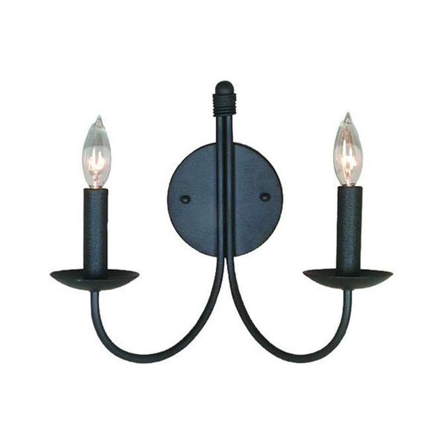Artcraft Lighting Pot Racks 14-in W 2-Light Ebony Black Arm Wall Sconce