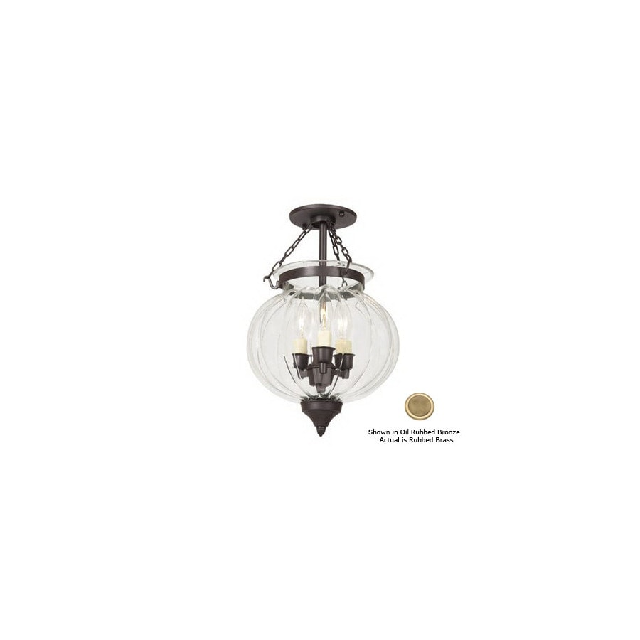 JVI Designs 10-in W Rubbed Brass Semi-Flush Mount Light