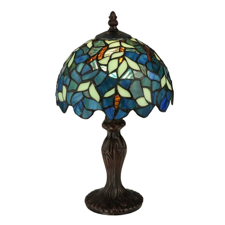 Meyda Tiffany Nightfall Wisteria 14-in  Electrical Outlet Table Lamp with Glass Shade