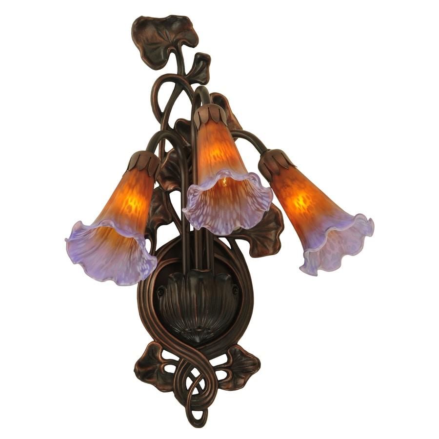 Meyda Tiffany Pond Lily 10.5-in W 3-Light Mahogany Bronze Arm Hardwired Wall Sconce