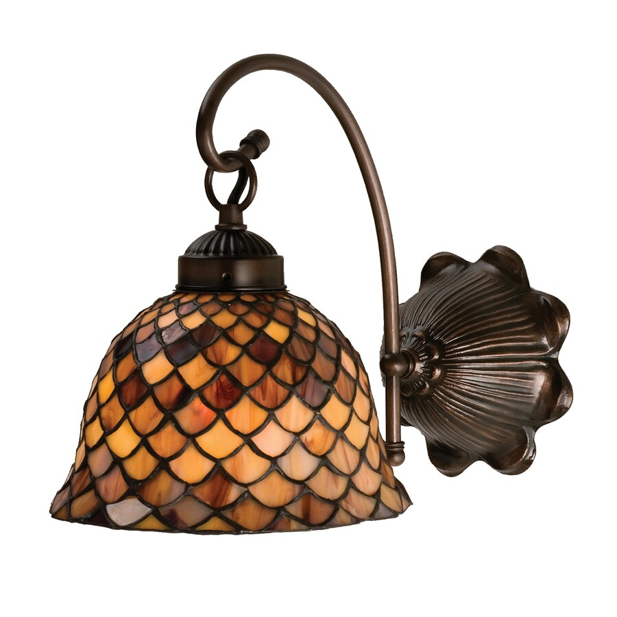 Meyda Tiffany Fishscale 8-in W 1-Light Mahogany Bronze Tiffany-Style Arm Hardwired Wall Sconce