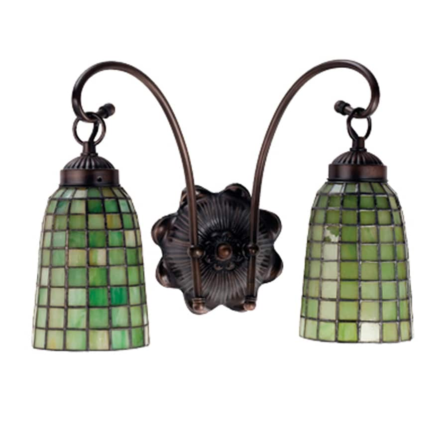 Meyda Tiffany Terra Verde 14.5-in W 2-Light Mahogany bronze Tiffany-style Arm Wall Sconce