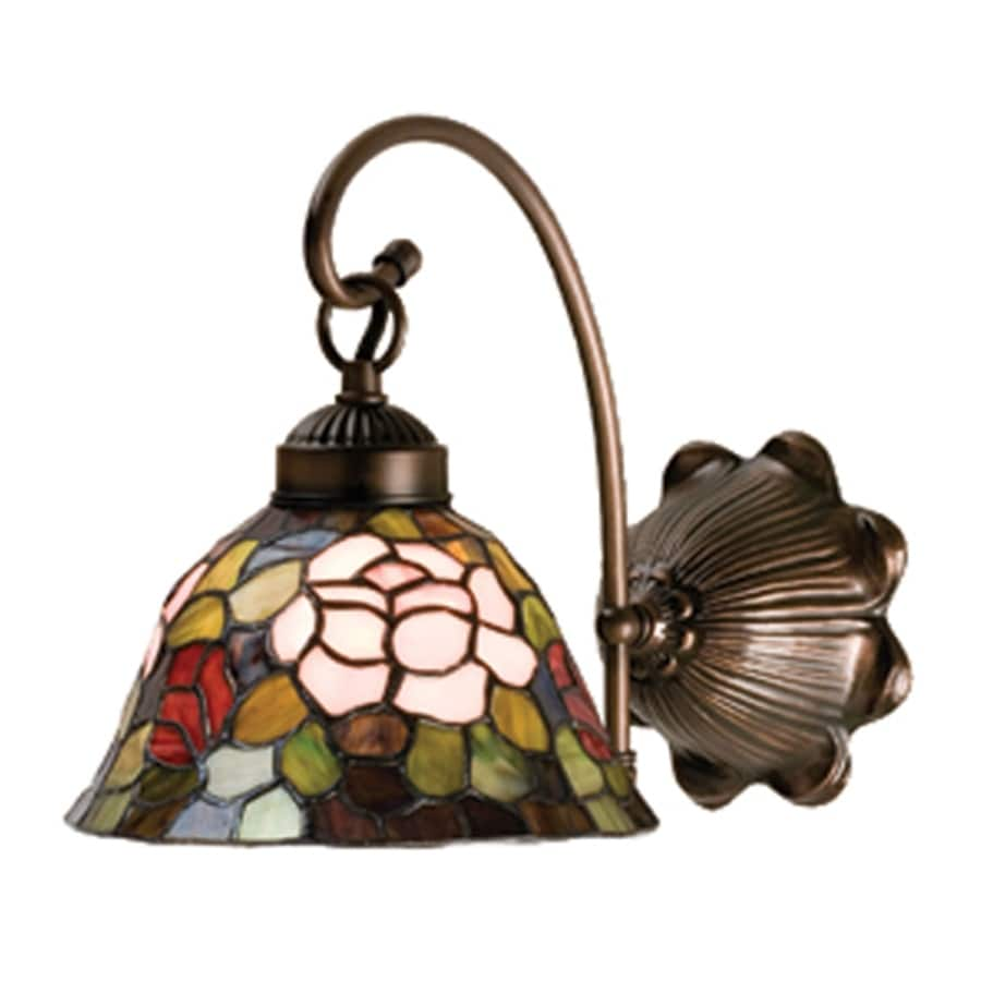 Lowes Tiffany Wall Sconces : Shop Meyda Tiffany Rosebush 8-in W 1-Light Mahogany Bronze Tiffany-Style Arm Wall Sconce at ...