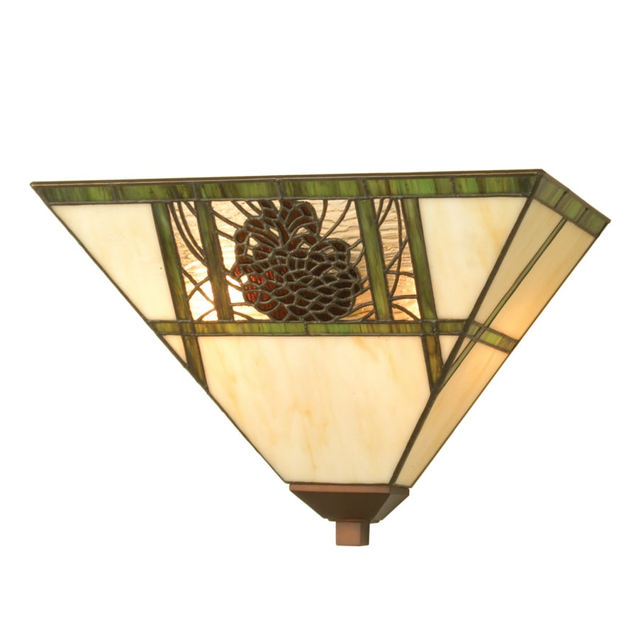 Meyda Tiffany Pinecones 14-in W 1-Light Antique Copper/Mahogany Bronze Pocket Wall Sconce