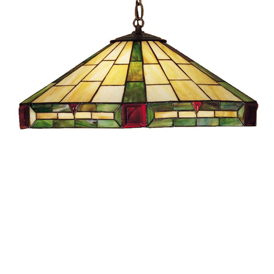 Meyda Tiffany Wilkenson 20-in Mahogany Bronze Tiffany-Style Hardwired Single Stained Glass Dome Pendant