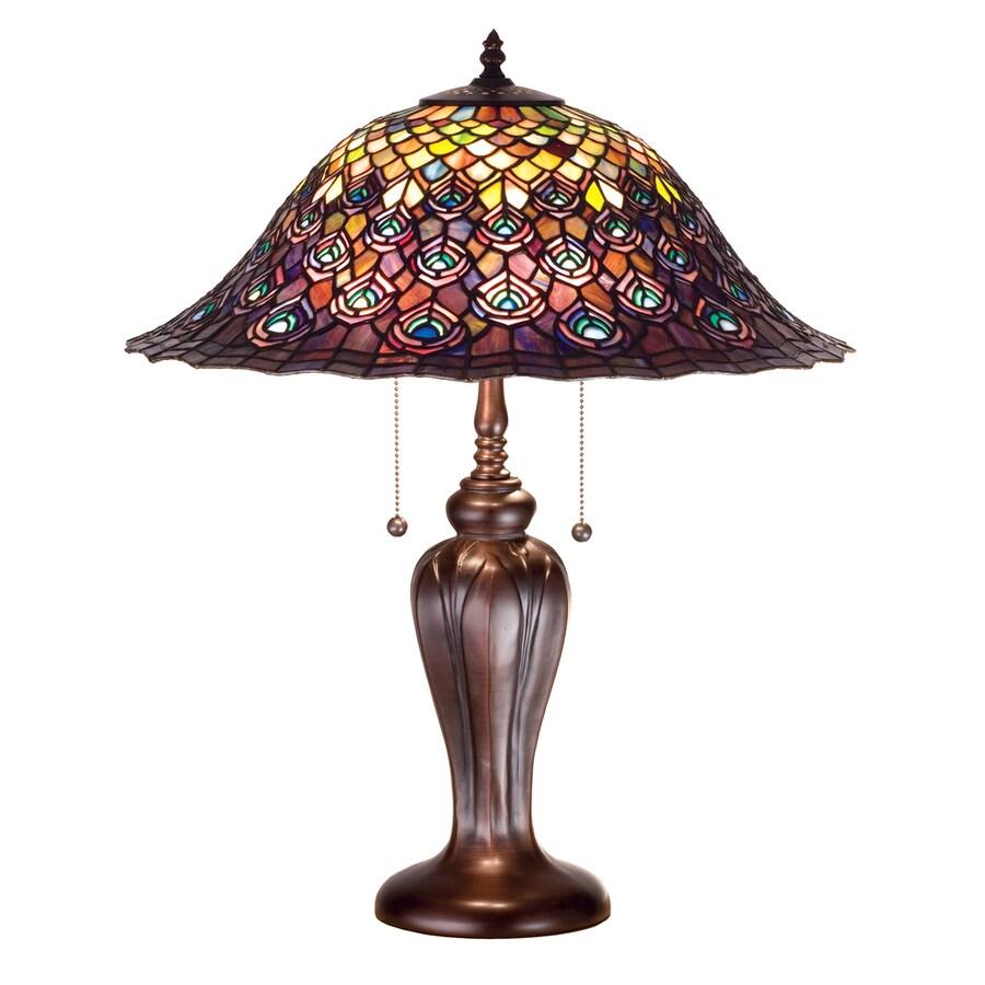 Meyda Tiffany 25-in Mahogany Bronze Indoor Table Lamp with Tiffany-Style Shade