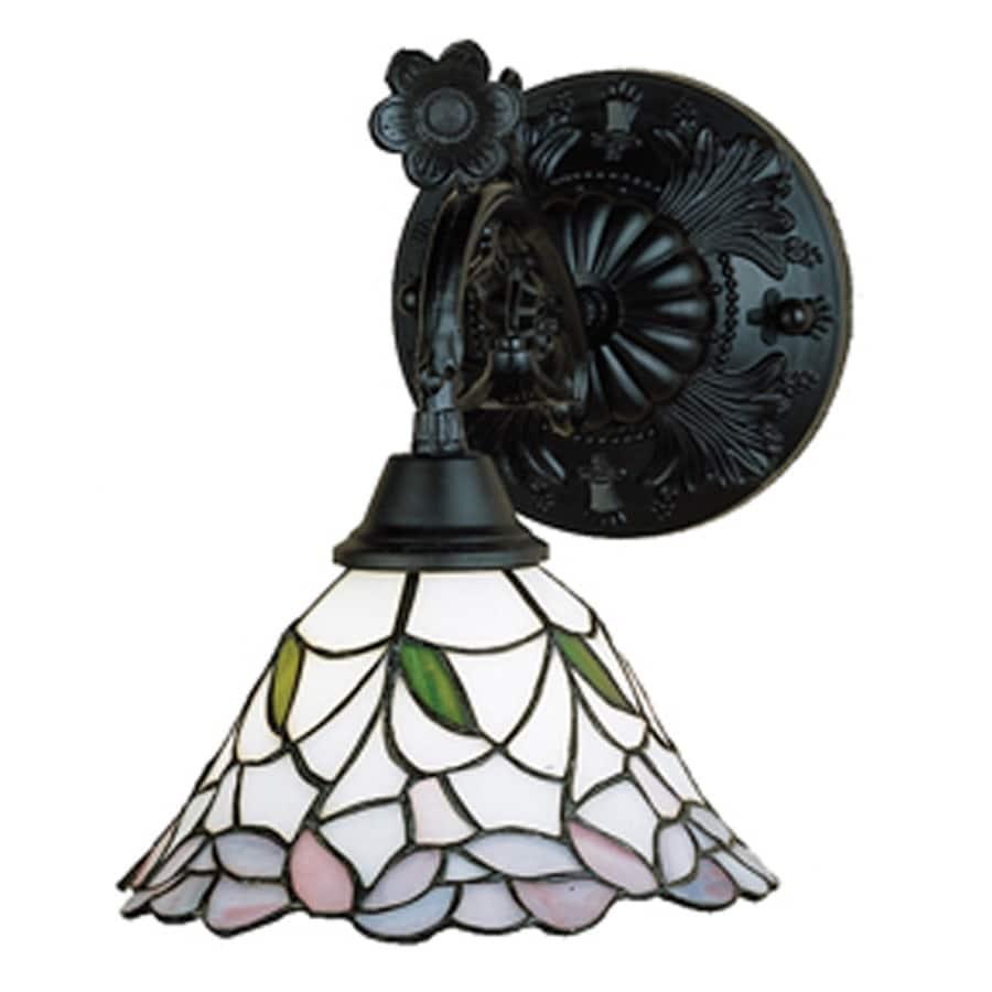 Meyda Tiffany Daffodil Bell 9-in W 1-Light Mahogany bronze Tiffany-style Arm Wall Sconce